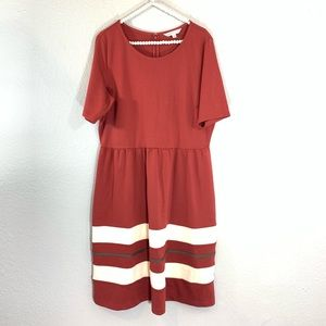 Downeast maroon stripe dress